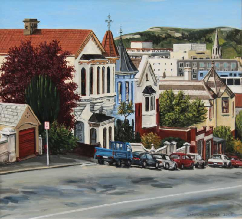 High Street Dunedin, painting by Caroline Jones