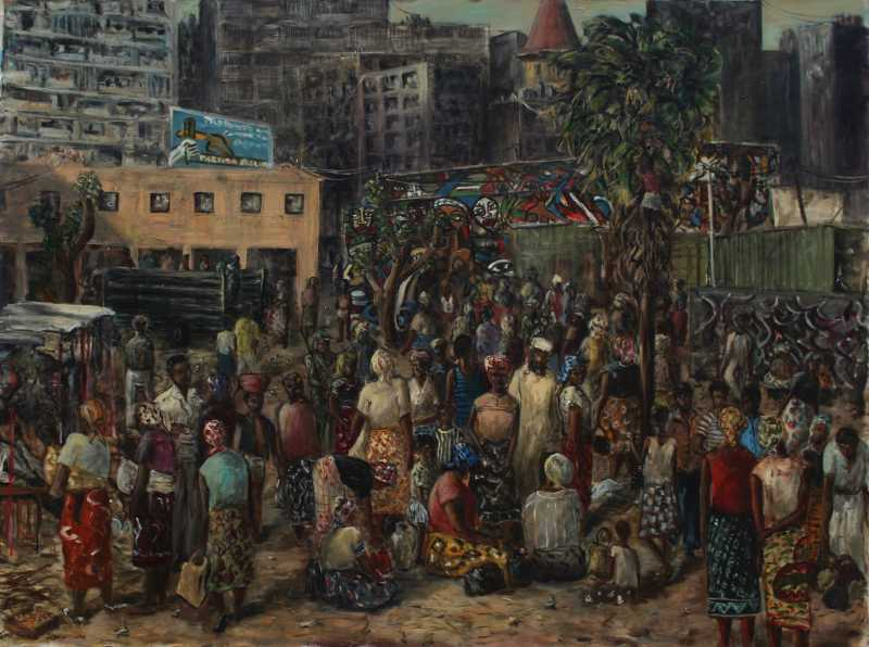 Maputo Marketplace painting by Caroline Jones